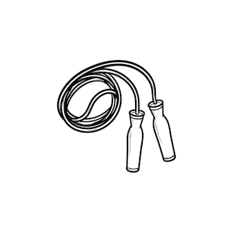 Icône de doodle contour dessiné main corde à sauter. exercice de sport, équipement de gym et de fitness, concept de santé