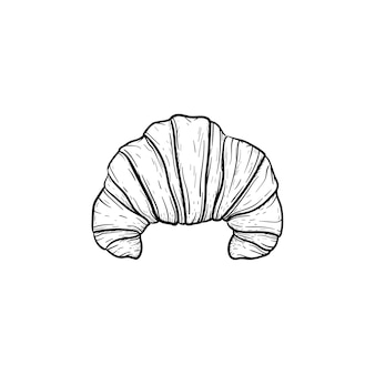 Icône de doodle contour dessiné main croissant. pâtisserie française du matin - illustration de croquis de vecteur croissant pour impression, web, mobile et infographie isolé sur fond blanc.