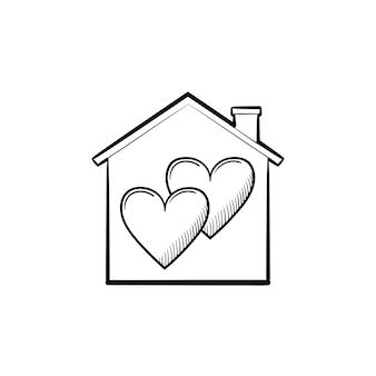 Icône de doodle contour dessiné main douce maison