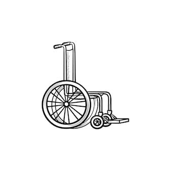 Icône de doodle contour dessiné main fauteuil roulant