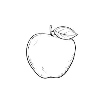 Icône de doodle contour dessiné main fruits pomme. fruits frais et sains - illustration de croquis de vecteur pomme pour impression, web, mobile et infographie isolé sur fond blanc.