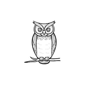 Icône de doodle de contour dessiné à la main de hibou de la sagesse. oiseau hibou symbolisant l'illustration de croquis de vecteur de sagesse pour l'impression, le web, le mobile et l'infographie isolés sur fond blanc.