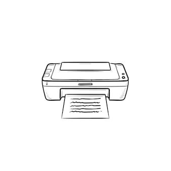 Icône de doodle contour dessiné main imprimante bureau. impression de documents, imprimante, concept d'équipement d'impression