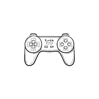 Icône de doodle contour dessiné main joystick de jeu. contrôleur de jeu vidéo et manette de jeu, concept de contrôleur de jeu pc