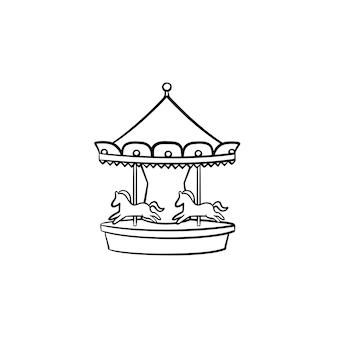 Icône de doodle contour dessiné main manège carrousel. concept d'illustration de croquis de vecteur de cirque, de carnaval et de foire en plein air pour l'impression, le web, le mobile et l'infographie isolés sur fond blanc.