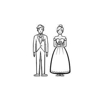 Icône de doodle contour dessiné main mariée et le marié
