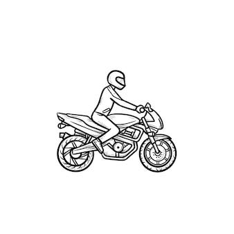 Icône de doodle de contour dessiné à la main de motocross rider riding bike. motocross, course de cross-country, concept de moto