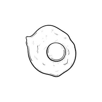 Icône de doodle contour dessiné main oeufs. illustration de croquis de vecteur d'oeufs ensoleillés pour l'impression, le web, le mobile et l'infographie isolés sur fond blanc.
