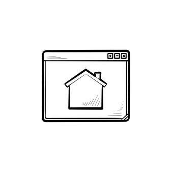 Icône de doodle contour dessiné main page d'accueil. fenêtre du navigateur, site web et internet, concept de page de démarrage et de page principale