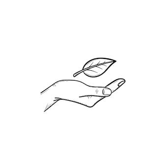 Icône de doodle contour dessiné à la main de protection de l'environnement. icône de croquis pour la conception écologique. illustration vectorielle de soins de l'environnement pour l'impression, le web, le mobile et l'infographie isolés sur fond blanc.