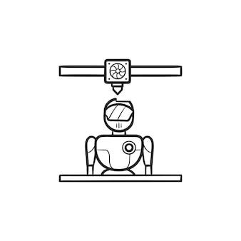 Icône de doodle de contour dessiné à la main de robot d'impression d'imprimante 3d. impression et fabrication 3d, concept cyborg