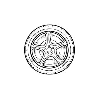 Icône de doodle contour dessiné main roue de voiture. pneu de voiture et transport, vitesse et conduite, concept de service de voiture