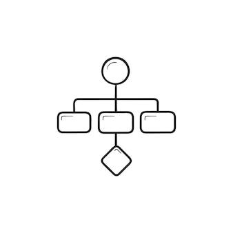 Icône de doodle contour dessiné à la main de schéma de plan de projet. schéma de stratégie d'entreprise, planification, concept de workflow. illustration de croquis de vecteur pour l'impression, le web, le mobile et l'infographie sur fond blanc.