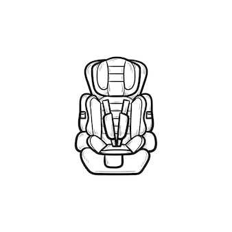 Icône de doodle contour dessiné main siège auto bébé. sécurité et transport des enfants, protection du concept de voyage pour enfants. illustration de croquis de vecteur pour l'impression, le web, le mobile et l'infographie sur fond blanc.