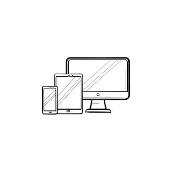 Icône de doodle contour dessiné main smartphone, tablette et moniteur. appareils numériques modernes, concept multimédia