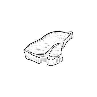 Icône de doodle contour dessiné à la main de steak de boeuf t-bone. illustration de croquis de vecteur de steak de boeuf t-bone pour impression, web, mobile et infographie isolé sur fond blanc.