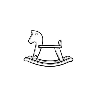 Icône de doodle contour dessiné main swing cheval à bascule. cheval de jouet de bébé pour basculer et monter illustration de croquis de vecteur pour l'impression, le web, le mobile et l'infographie isolés sur fond blanc.