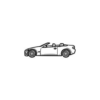 Icône de doodle contour dessiné main voiture décapotable. transport automobile et vitesse, cabriolet, concept de conduite sportive