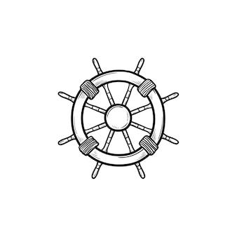 Icône de doodle contour dessiné main volant de navire. navigation, barre et gouvernail de direction, concept d'équipement nautique