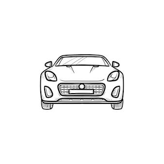Icône de doodle contour dessiné main vue de face de voiture. automobile et véhicule de vitesse, conduite et voyage, concept de route