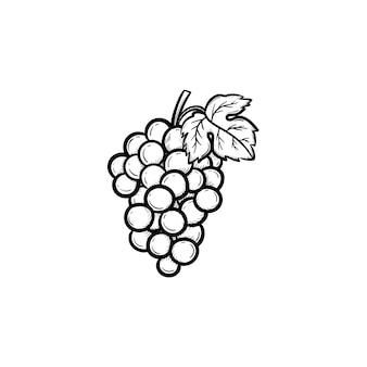 Icône de doodle de contour de grappe de raisins dessinés à la main de vecteur. bouquet de raisins croquis illustration pour impression, web, mobile et infographie isolé sur fond blanc.
