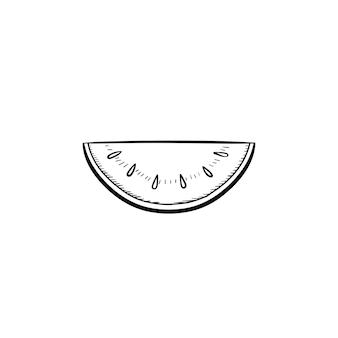 Icône de doodle contour de pastèque dessinés à la main de vecteur. illustration de croquis de pastèque pour impression, web, mobile et infographie isolé sur fond blanc.