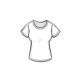 Icône de doodle de contour de t-shirt serré dessinés à la main de vecteur. illustration de croquis de t-shirt serré pour impression, web, mobile et infographie isolé sur fond blanc.