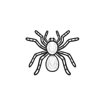 Icône de doodle de contour de tarentule araignée dessinés à la main de vecteur. illustration de croquis de tarentule araignée pour impression, web, mobile et infographie isolé sur fond blanc.