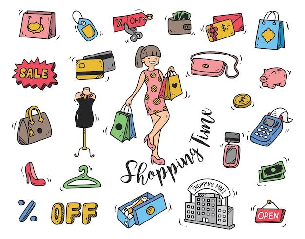 Icône de doodle du temps de shopping