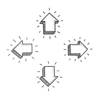 Icône de doodle flèche 3d dessinés à la main. symbole de signe. élément de décoration. fond blanc. isolé. conception plate. illustration vectorielle.