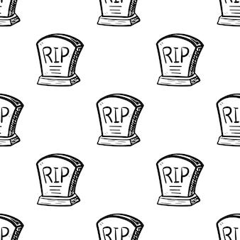 Icône de doodle grave modèle sans couture dessinée à la main. croquis noir dessiné à la main. signe symbole de dessin animé. élément de décoration. fond blanc. isolé. conception plate. illustration vectorielle.