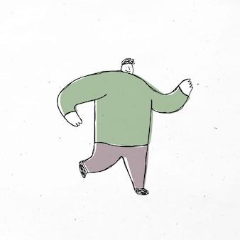 Icône de doodle homme en cours d'exécution mignon