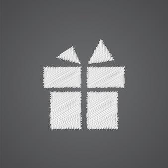 Icône de doodle de logo de croquis de cadeau isolé sur fond sombre