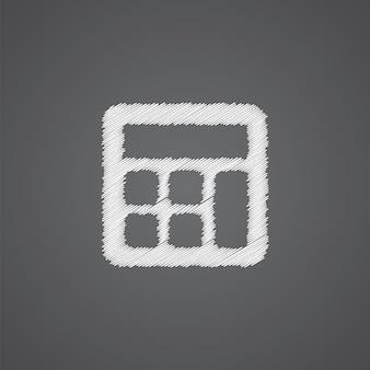 Icône de doodle de logo de croquis de calculatrice d'isolement sur le fond foncé