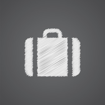 Icône de doodle de logo de croquis de cas isolé sur fond sombre