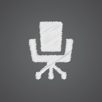 Icône de doodle de logo de croquis de chaise de bureau isolé sur fond sombre