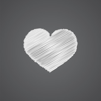 Icône de doodle de logo de croquis de coeur isolé sur fond sombre