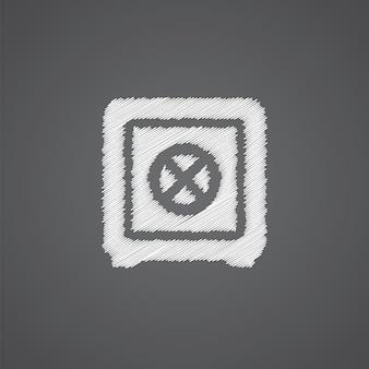 Icône de doodle de logo de croquis de coffre-fort de banque isolé sur fond sombre