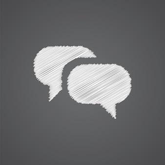 Icône de doodle de logo de croquis de conversation isolé sur fond sombre