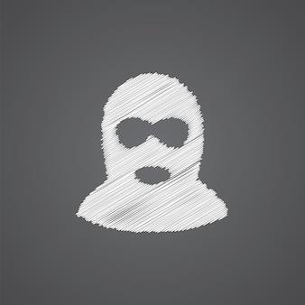 Icône de doodle de logo de croquis de délinquant isolé sur fond sombre