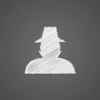 Icône de doodle de logo de croquis de détective isolé sur fond sombre