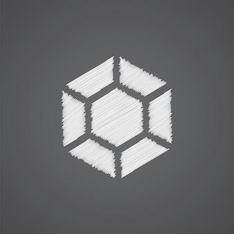 Icône de doodle de logo de croquis de diamant isolé sur fond sombre