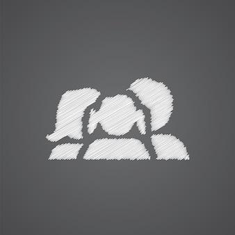 Icône de doodle de logo de croquis de famille isolé sur fond sombre