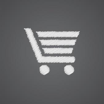 Icône de doodle de logo de croquis de panier d'achat isolé sur fond sombre