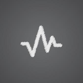 Icône de doodle de logo de croquis de pouls isolé sur fond sombre