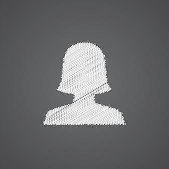 Icône de doodle de logo de croquis de profil féminin isolé sur fond sombre