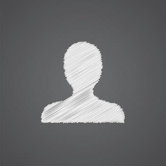Icône de doodle de logo de croquis de profil isolé sur fond sombre