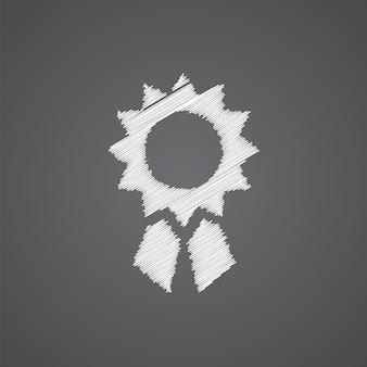 Icône de doodle de logo de croquis de réalisation isolé sur fond sombre