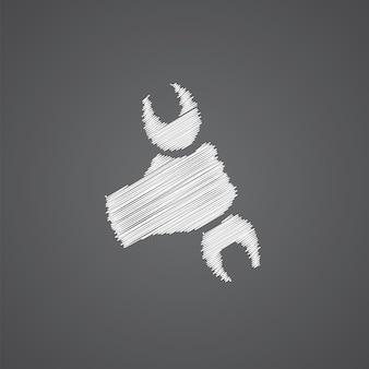 Icône de doodle de logo de croquis de réparation isolé sur fond sombre