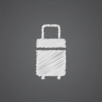 Icône de doodle de logo de croquis de sac de voyage isolé sur fond sombre